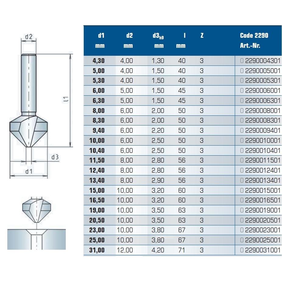 countersink 90 d1250mm d210mm
