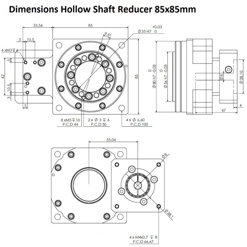 dcnchsrf85 i30 hollow shaft reducer nema23