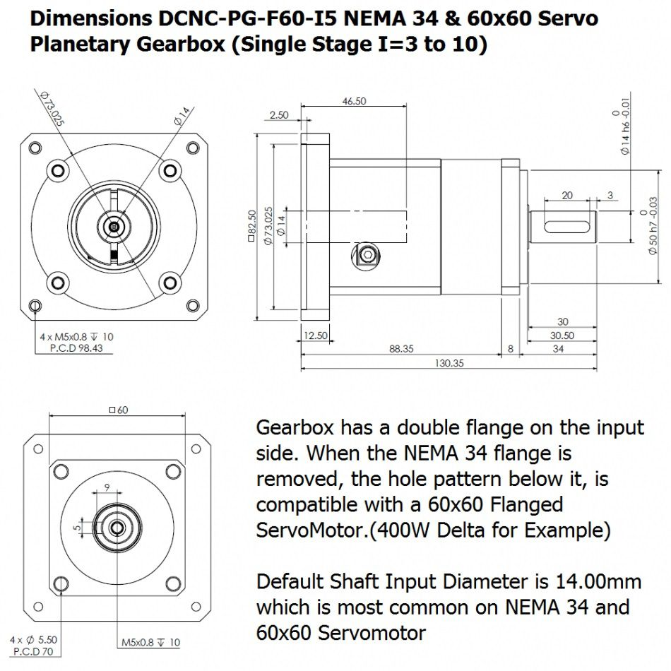 dcncpgf60 i10 planetary gearbox 60x60mm nema34
