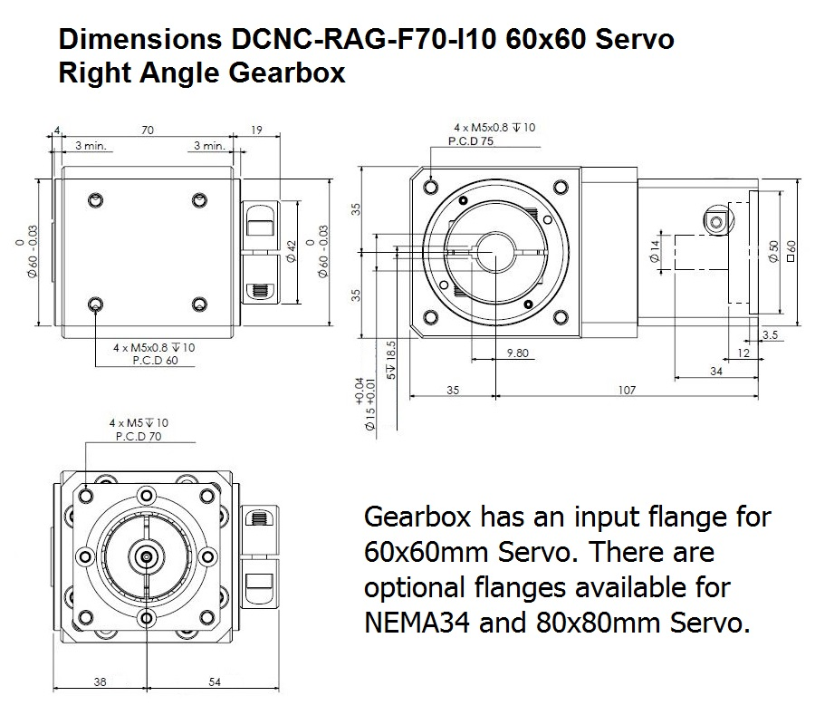 dcncragf70 i10 right angle gearbox 60x60mm