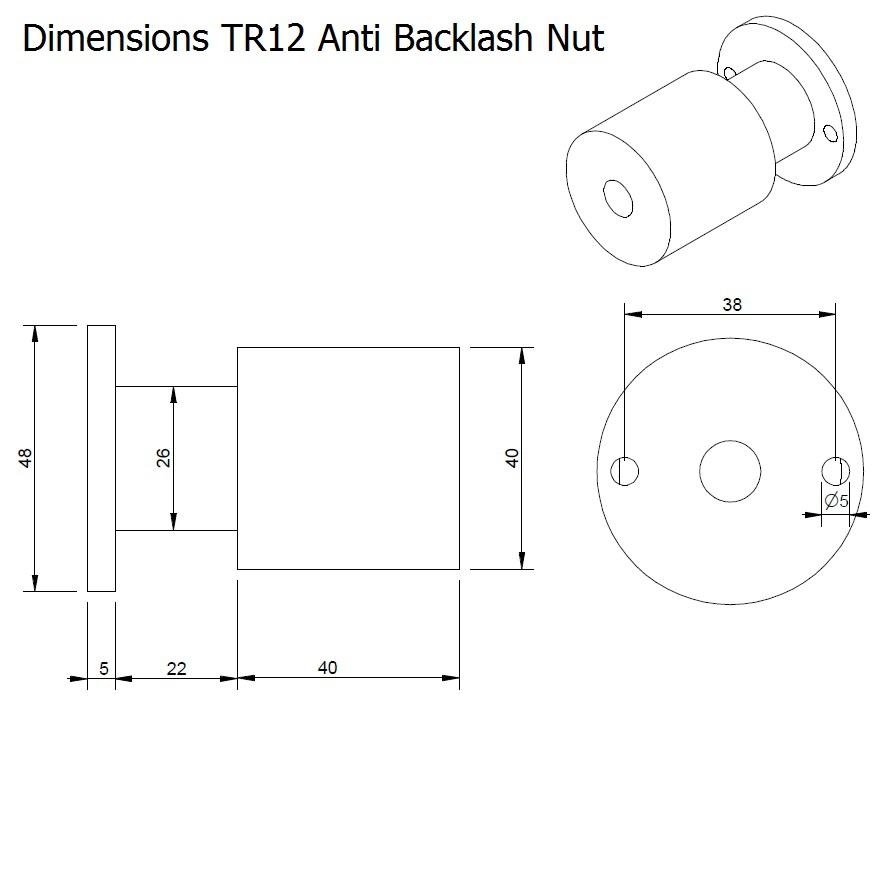 dcnc tr anti backlash nut tr12x3