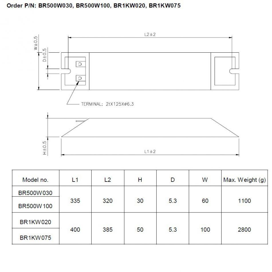 delta high power brake resistor 500w 100ohm 400v models