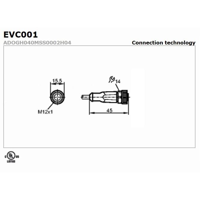 evc001 straight female m12 4pole 2m