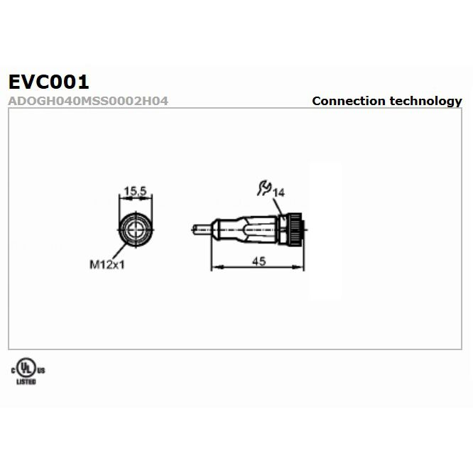 evc003 straight female m12 4pole 10m