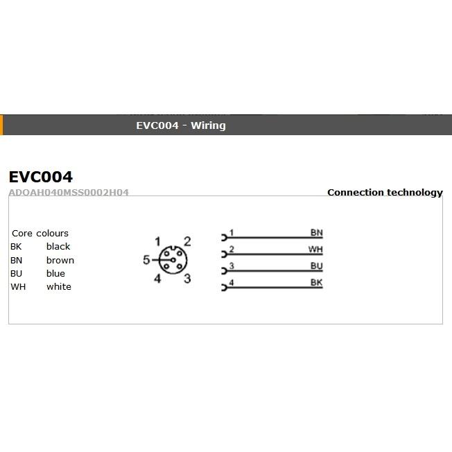 evc006 angled female m12 4pole 10m