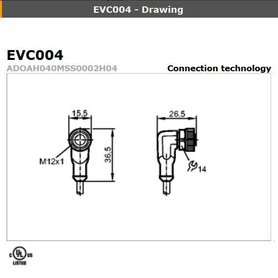 evc086 angled female m12 4pole 15m