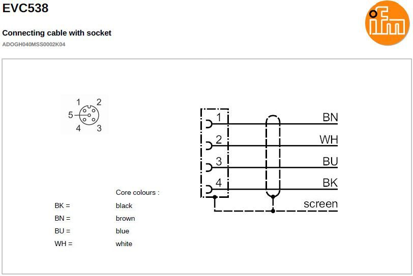 evc538 shielded straight female m12 4pole 2m