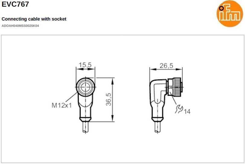 evc767 shielded angled female m12 4pole 25m