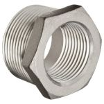 "G 2"" to G 1 1/2"" Hex Bushing / Thread Reducer 316 Stainless Steel"