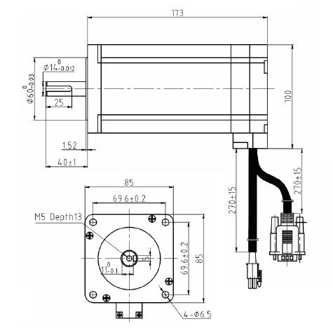 high voltage closed loop stepper motor nema3480nm 3phase