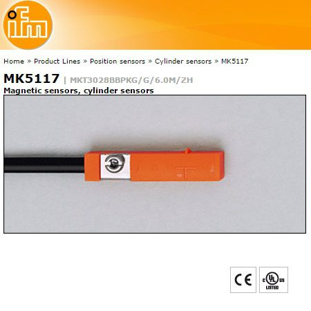 ifm mk5117 magnetic inductive cilinder sensor