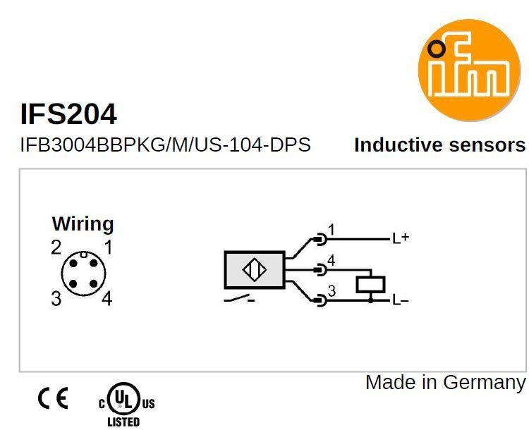 inductive proximity switch ifs 204 pnp 1036vdc