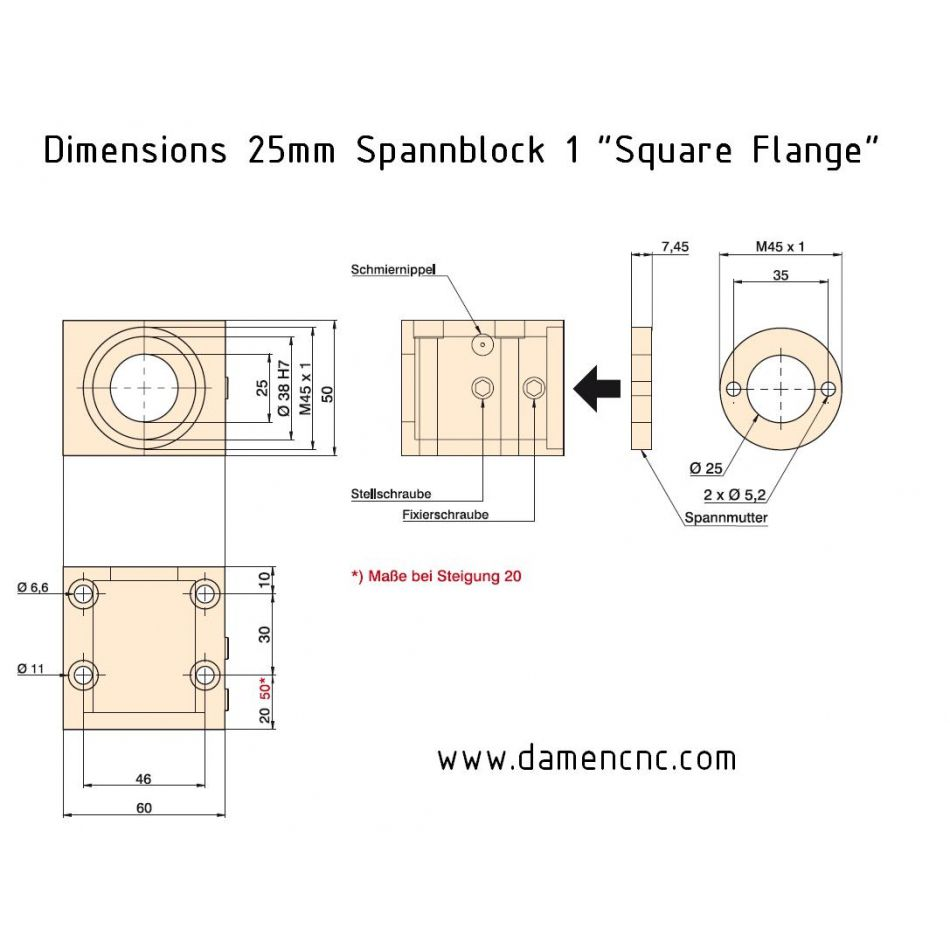 isel spannblock 1 for 25mm 20mm pitch square flange 213700 9002