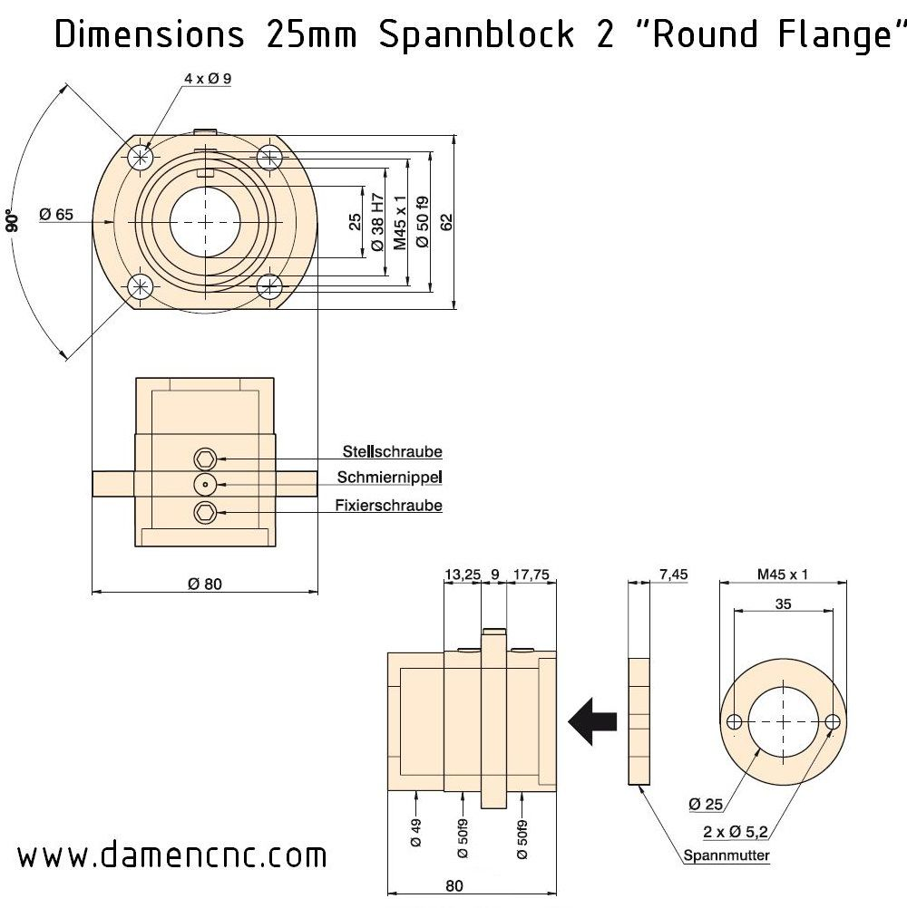 isel spannblock 2 for 25mm 20mm pitch round flange 213 700 9004
