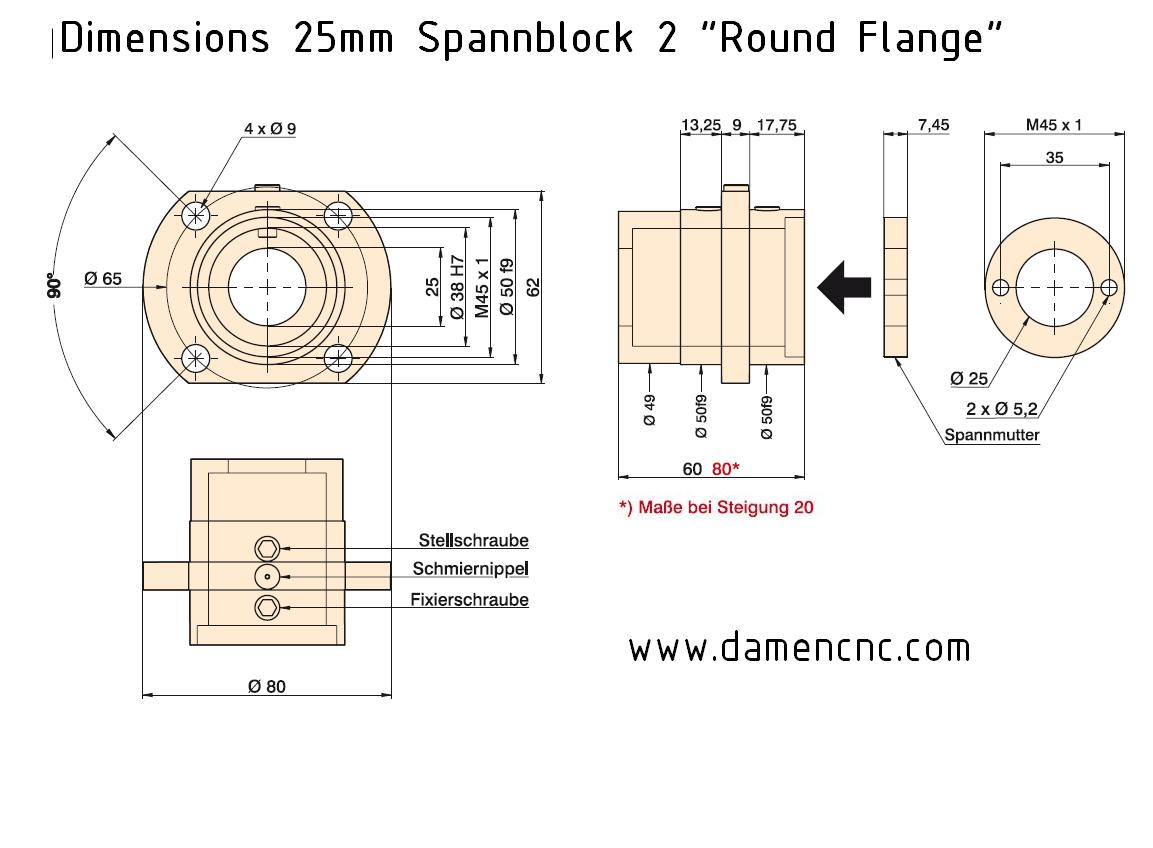 isel spannblock 2 for 25mm 510mm pitch round flange 213 700 9003