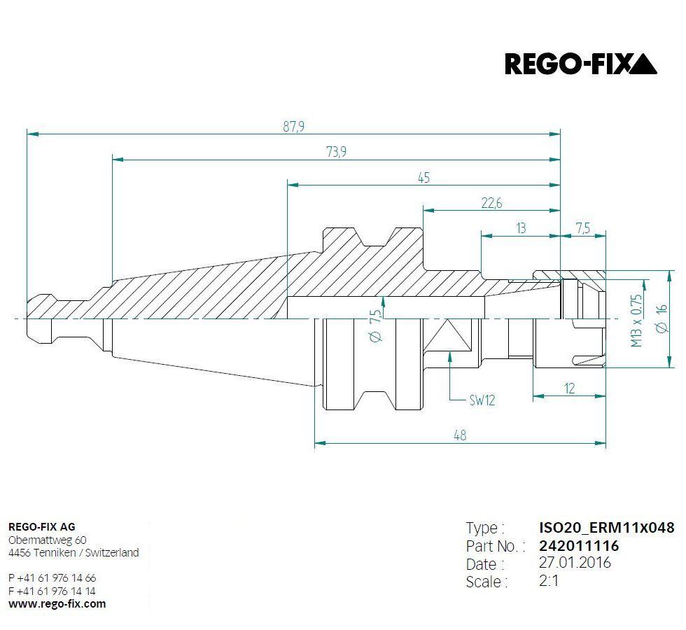 iso20 er11 l48mm toolholder pullstud