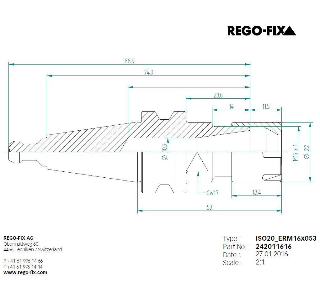 iso20 er16 l53mm toolholder pullstud