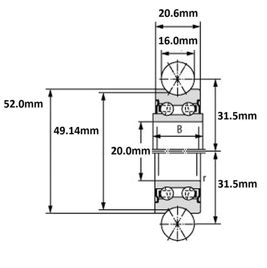 lfr 5204162z 20x52x206 double row 16mm groove
