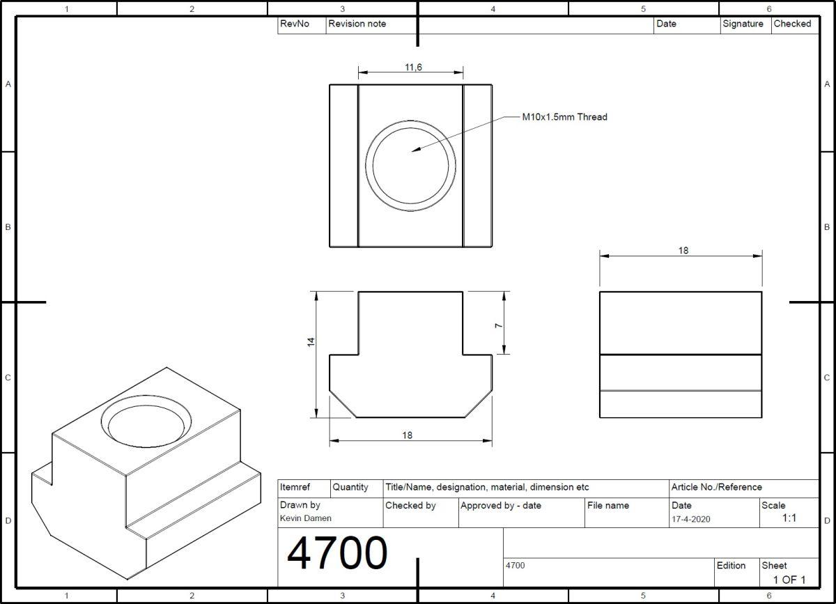 m10 tnut l18mm din508 for tslot12mm wide