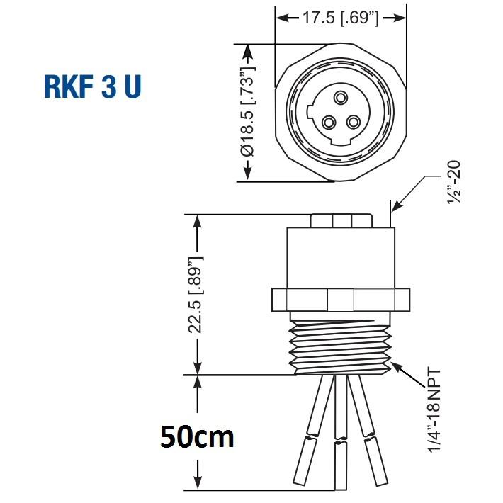 m12 3pole panel mount female with 50cm wiring rkf 3u/05m