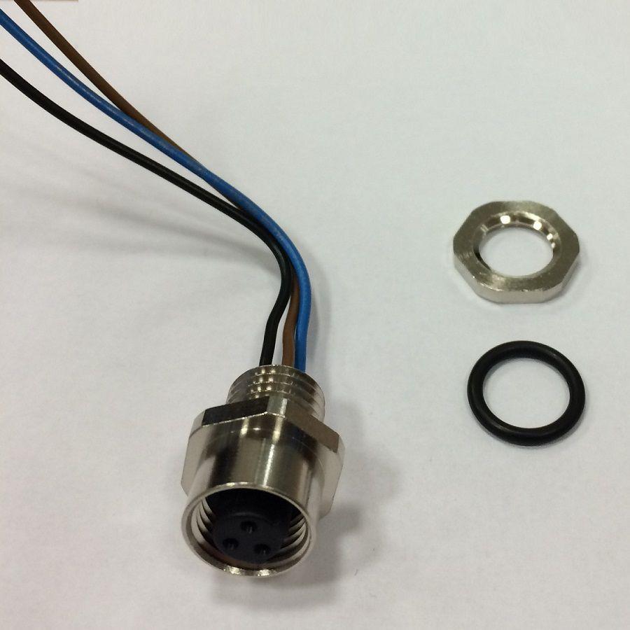 m12 3poles panel mount female with 50cm wiring rkf 3u05m