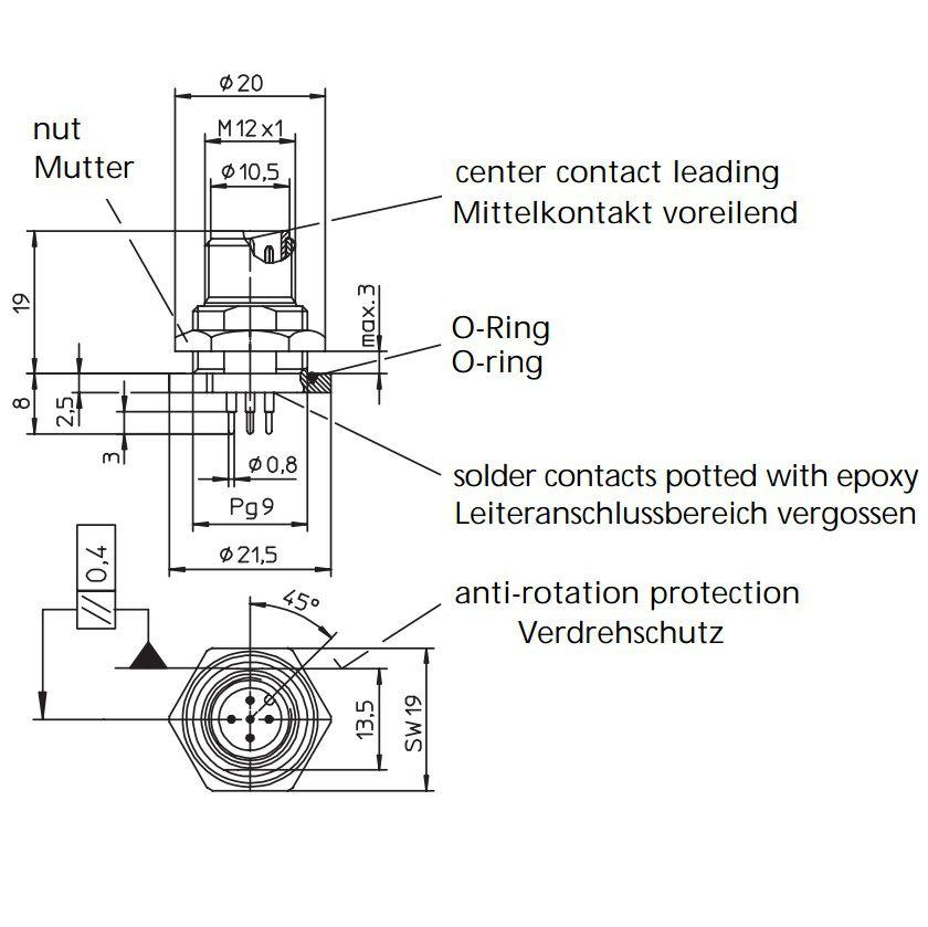 RSHL conector 4//S5.5 PIN4 Macho Zócalo M12 THT 56332 RSHL 4//S5,5 LUMBERG Automatización