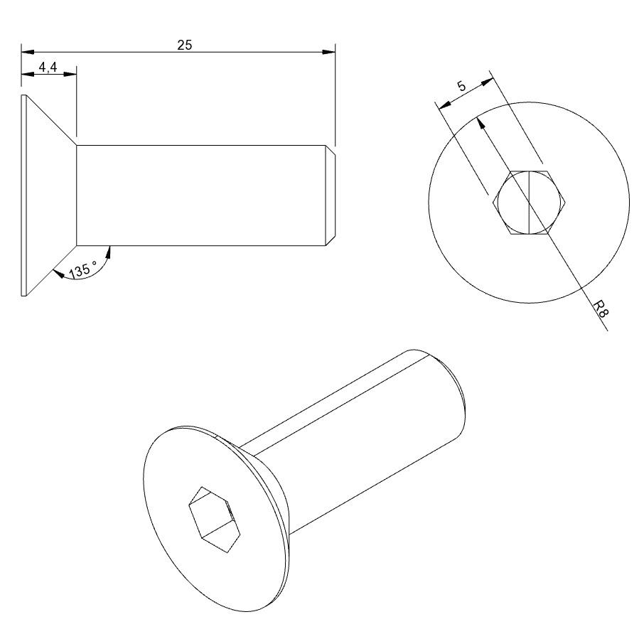 Countersunk Screws ISO 10642 10 x 35 mm VZ 8.8 100 per unit