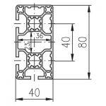 MayTec Profile 40x80 4E, LP (light) (1 FACE CLOSED)
