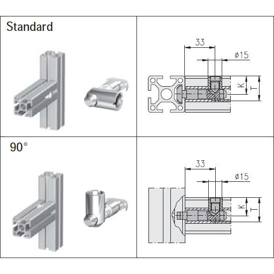 maytec standard verbinder for eslot profile group 40