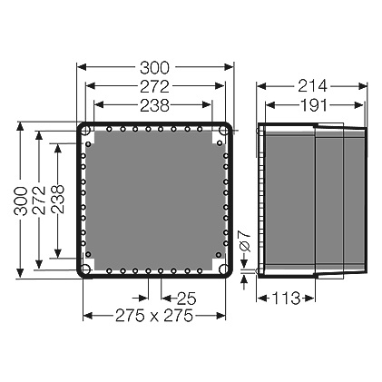 mi 0210 empty enclosure 195mm inside height 300x300x214 outside dims