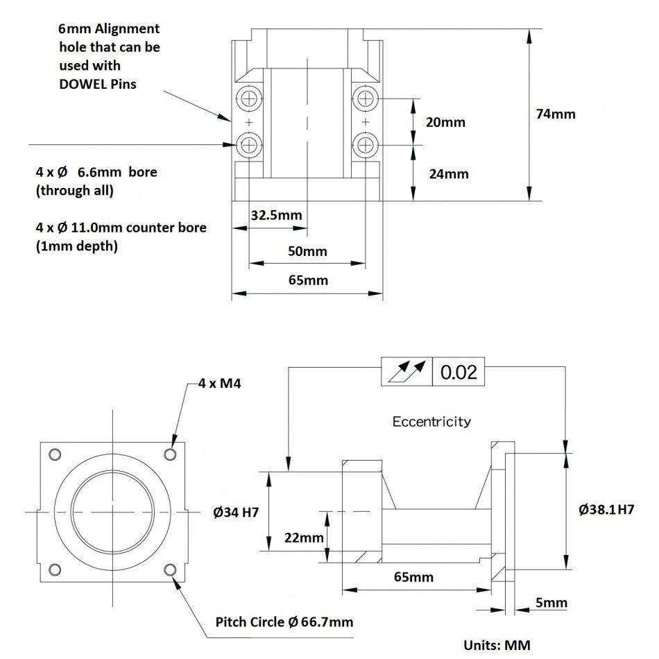 nema 23 motor bracket mba10c for fk10