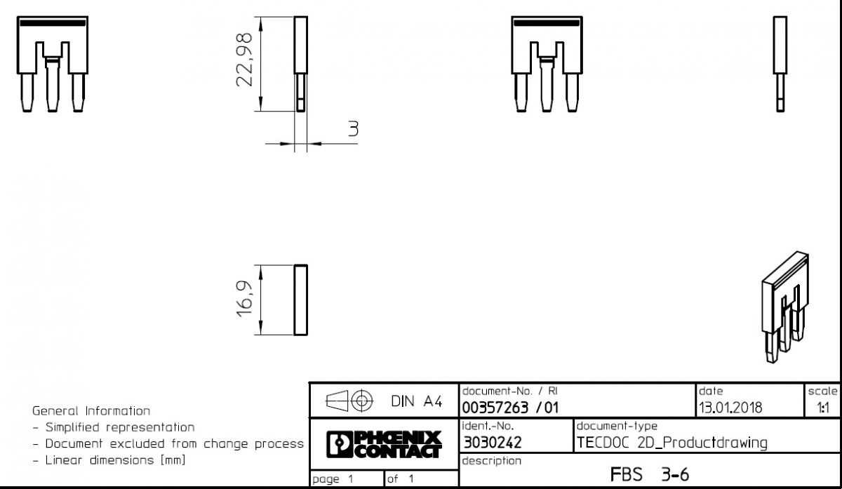 plugin bridge fbs 36 3030242 3poles