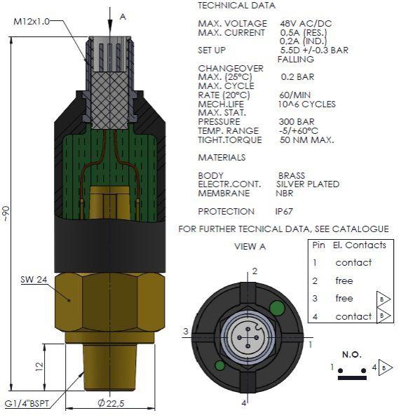 pressure switch pmn no 14 preset 55 fall m12