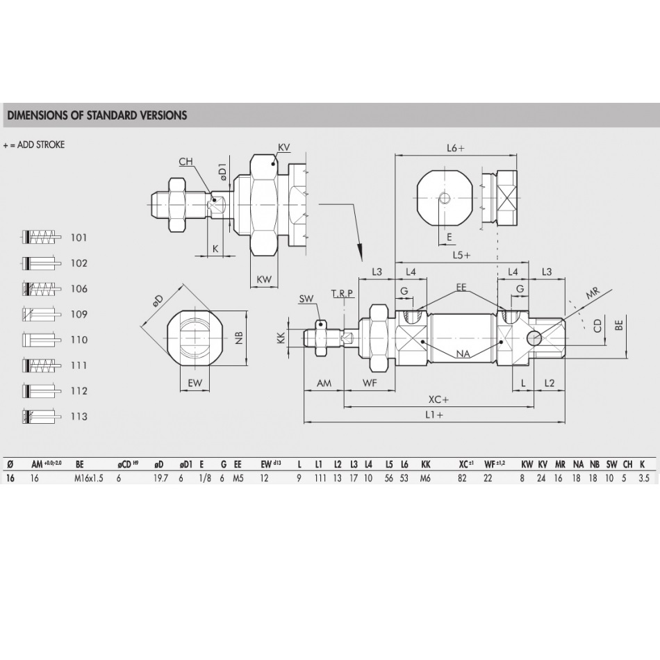 std pneumatic cilinders 1120160125cp iso6432 16mm diameter 125mmstroke
