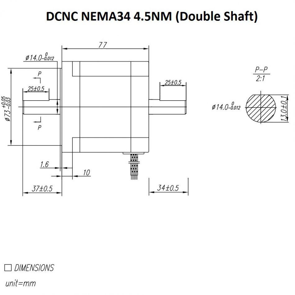 stepper motor dcncnema3445nm double shaft