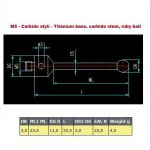 Straight Styli m5 DK_3.0mm/ L 33.5mm/ ML_23.5mm