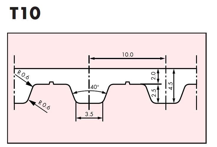 t10 belt 260t1016 beltlength 260mm