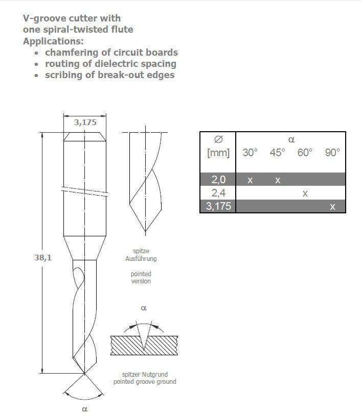 vgroove cutter vhm 30 degree tip 20mm diameter hw 803