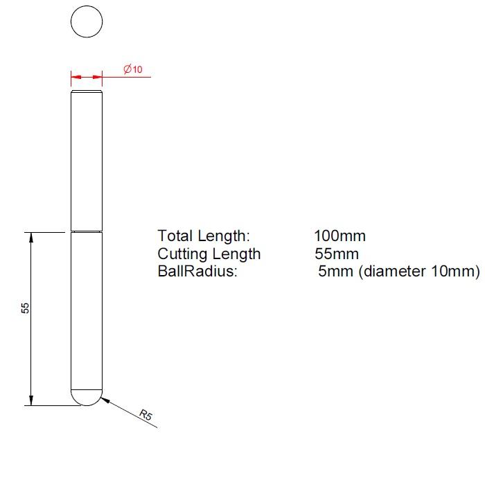 vhmballnoseendmill for glass carbon fibrereinfplast d100mm fl55mm l100mm