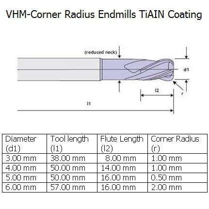 vhmcorner radius endmill tiain 4mm 2flute