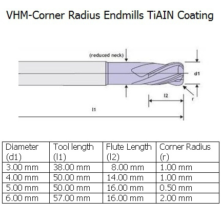 vhm corner radius endmill tiain coating 3mm 2 flute