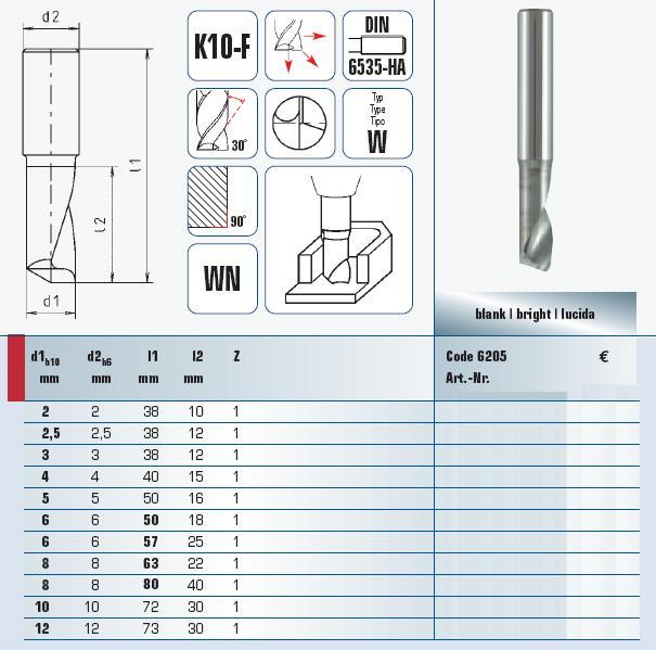 vhmendmills for aluminium 250 mm 6205002501