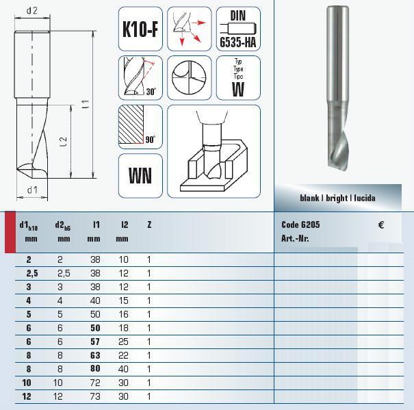 vhmendmills for aluminium 300 mm 6205003001