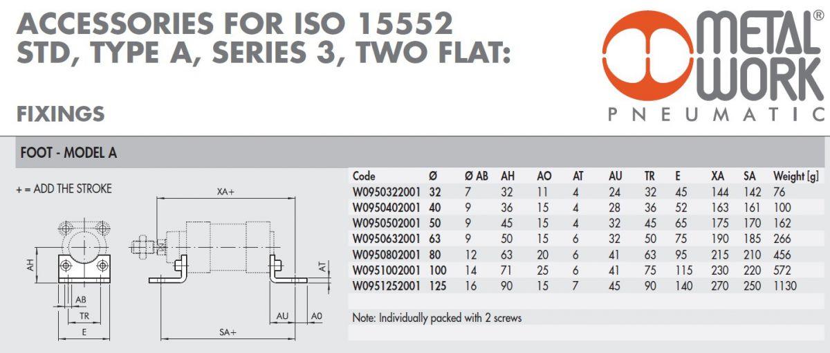 w0950322001 foot model a 32 bore iso