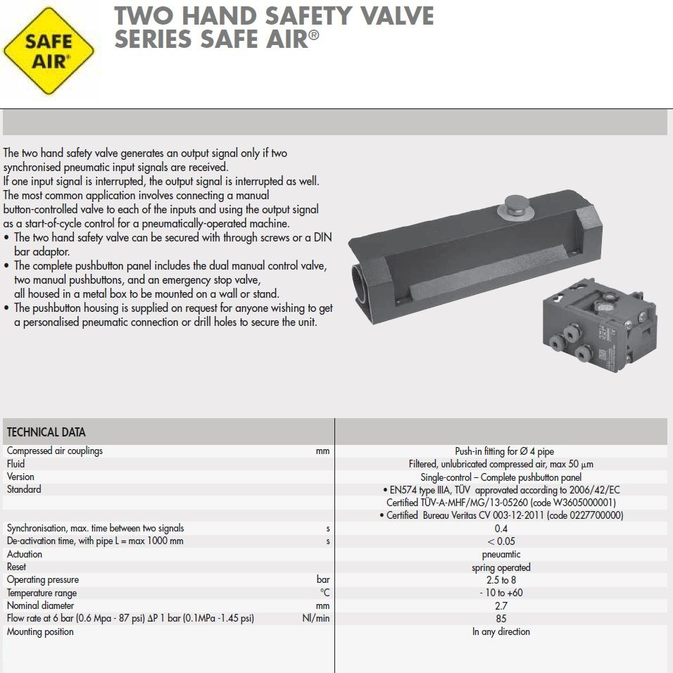 w3605000001 two hand safety valve