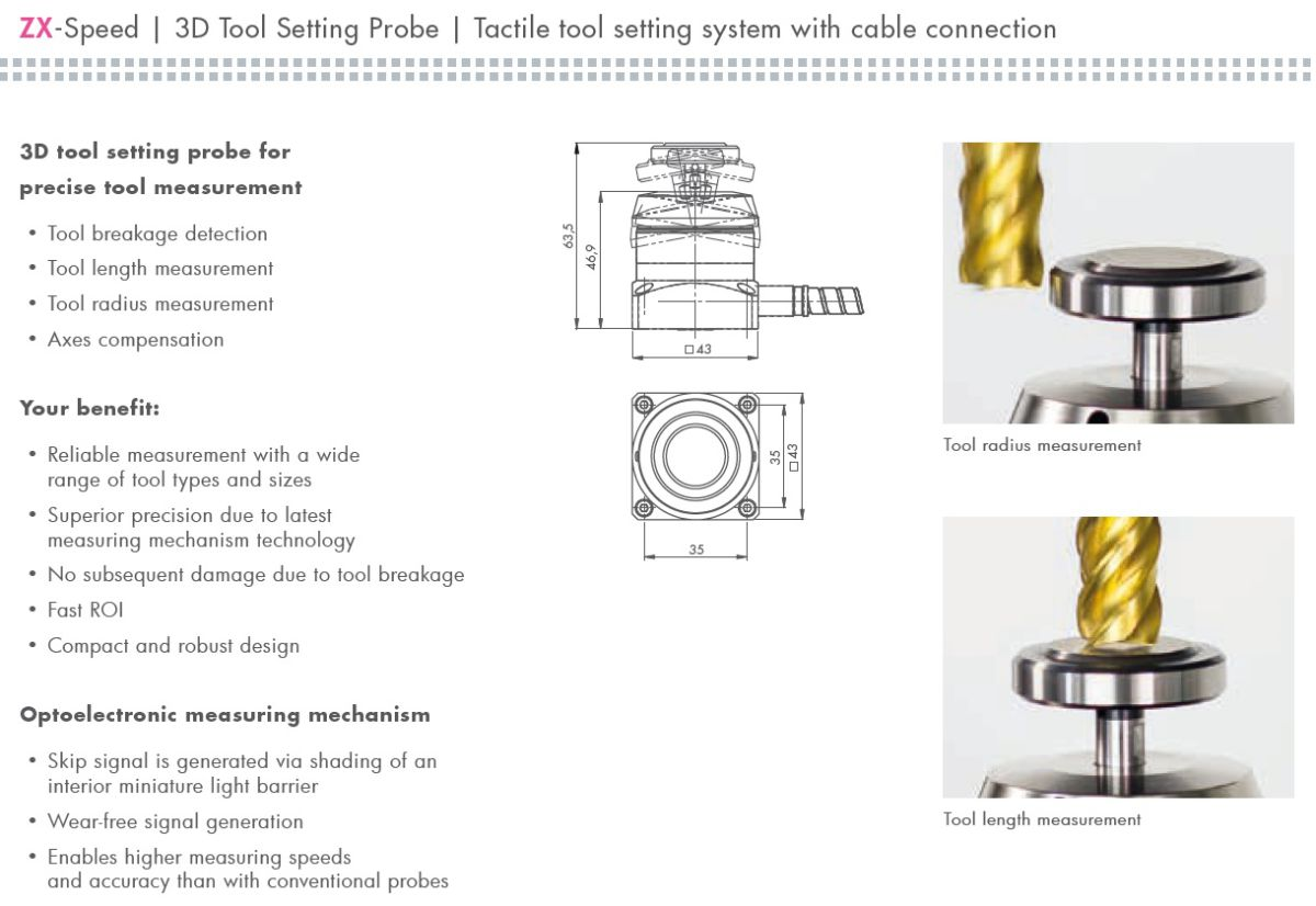 zxspeed 3d tool setting probe including cable cleaning nozzle